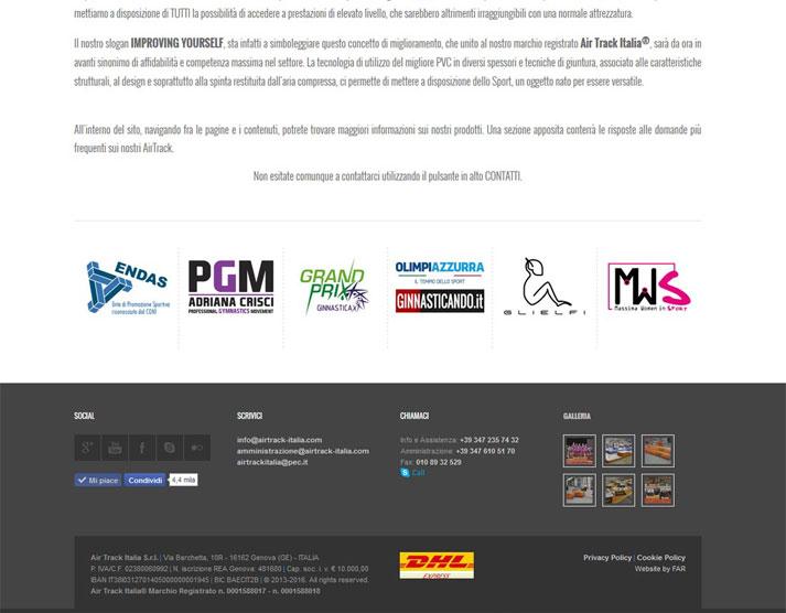 Creazione sito web Air Track Italia S.r.l.: footer con profili social | Portfolio FAR