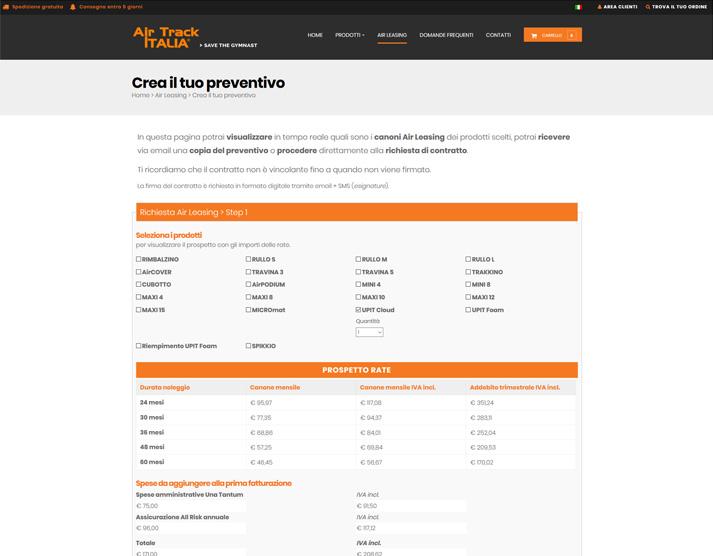 Form per preventivo online airtrackitalia.com