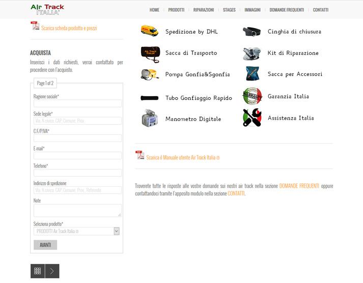 Restyling sito web Air Track Italia: form per acquisto online prodotti | Portfolio FAR