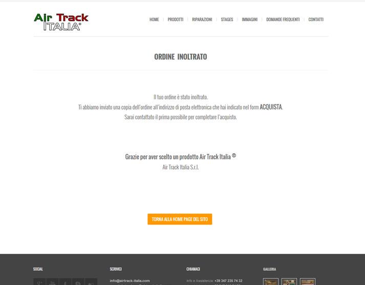Restyling sito web Air Track Italia: thank you page | Portfolio FAR