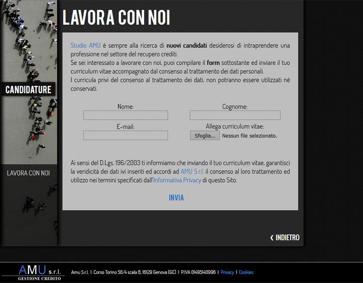 Creazione sito web Amu S.r.l.: form invio c.v. | Portfolio FAR