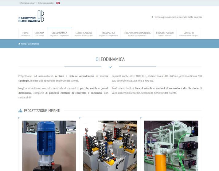 Restyling sito web Biasetton Oleodinamica | Portfolio FAR