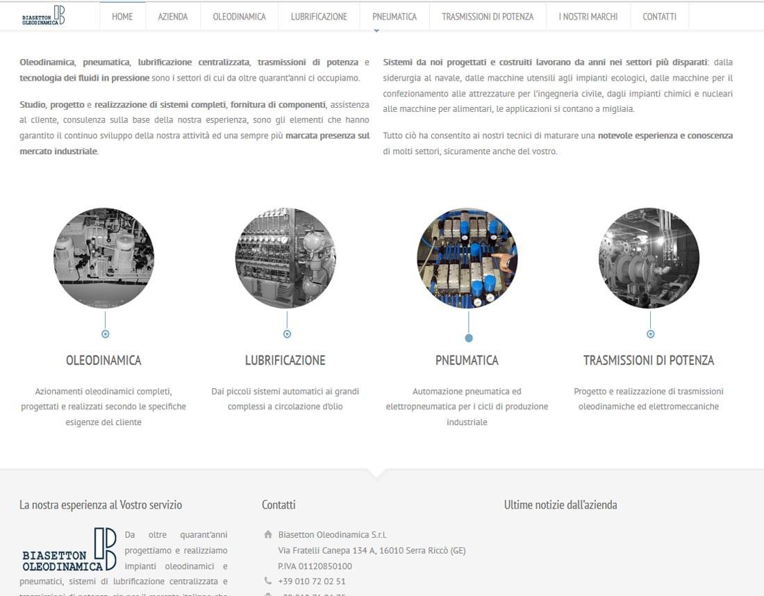 Creazione sito web Biasetton Oleodinamica S.r.l.: servizi e footer | Portfolio FAR