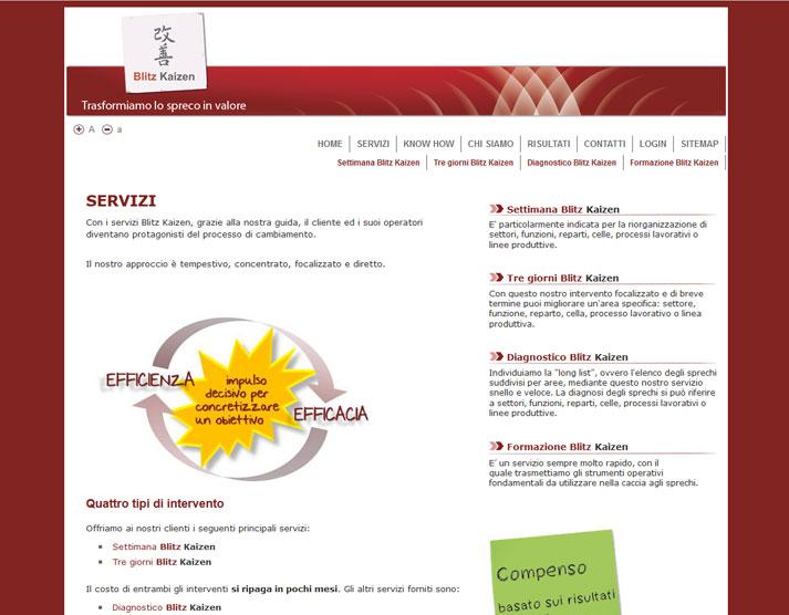 Creazione sito web Blitz Kaizen: pagina servizi | Portfolio FAR