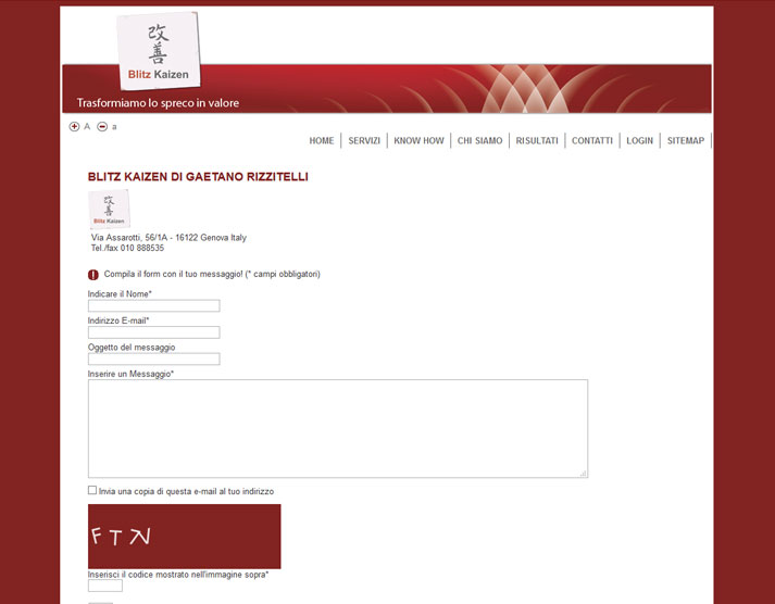 Creazione sito web Blitz Kaizen: form contatti | Portfolio FAR