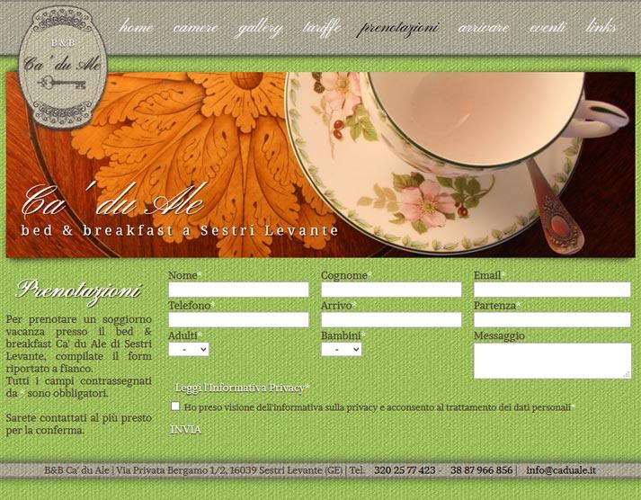 Creazione sito web Ca' du Ale: prenotazioni online | Portfolio FAR