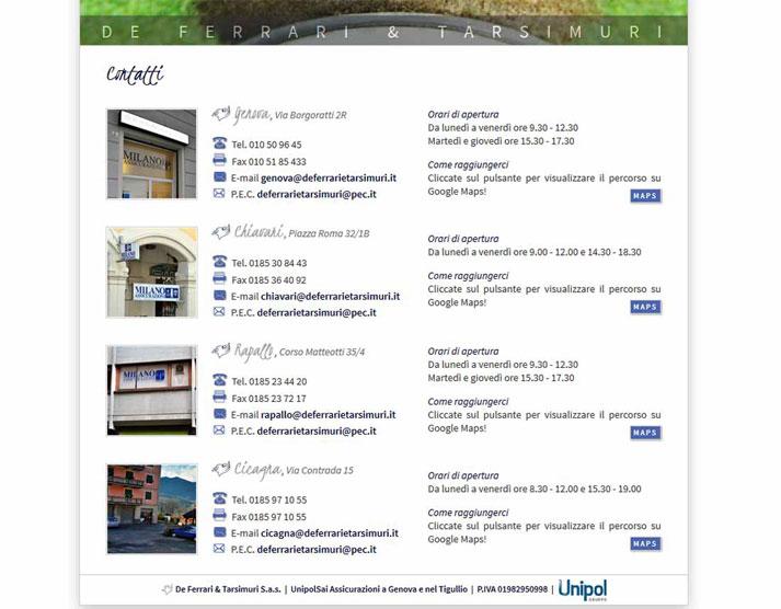 Creazione sito web De Ferrari & Tarsimuri S.n.c.: pagina contatti | Portfolio FAR