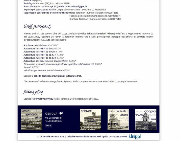 Creazione sito web De Ferrari & Tarsimuri S.n.c.: footer | Portfolio FAR