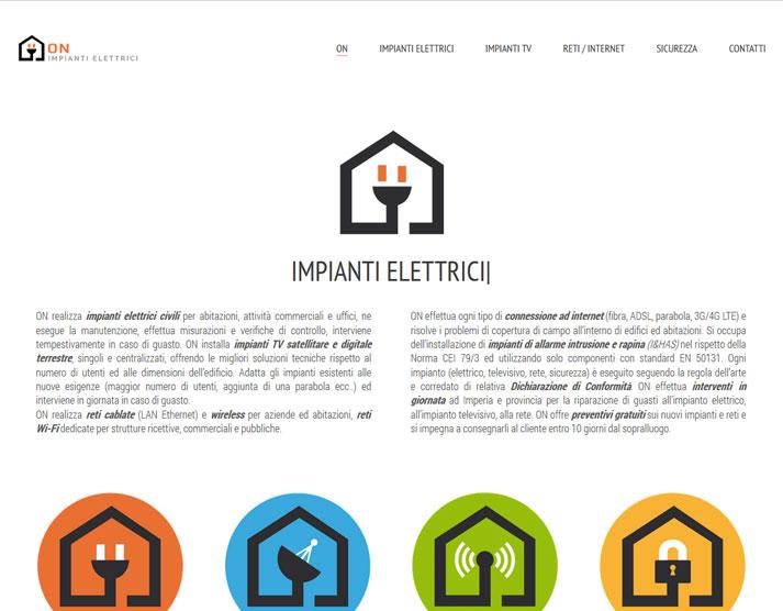 Creazione sito web ON Impianti Elettrici: home page | Portfolio FAR