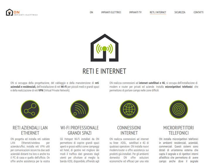 Creazione sito web ON Impianti Elettrici: pagina reti | Portfolio FAR