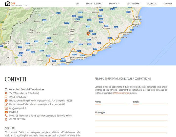 Creazione sito web ON Impianti Elettrici: pagina contatti | Portfolio FAR
