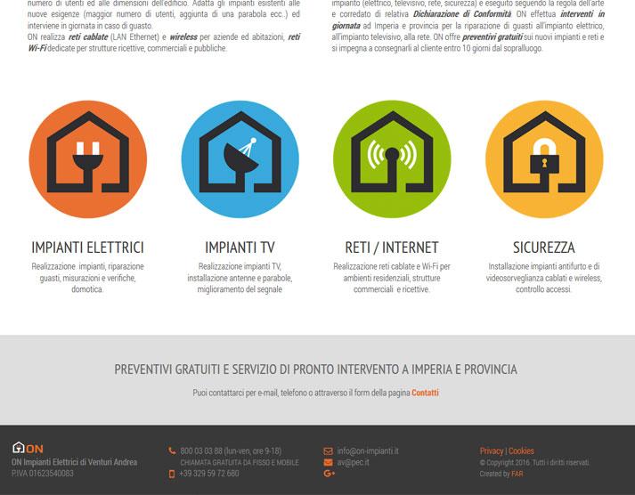 Creazione sito web ON Impianti Elettrici: servizi e footer | Portfolio FAR