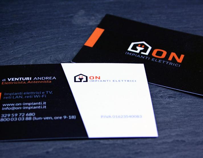 Logo e grafica per la stampa ON Impianti Elettrici: biglietti da visita | Portfolio FAR