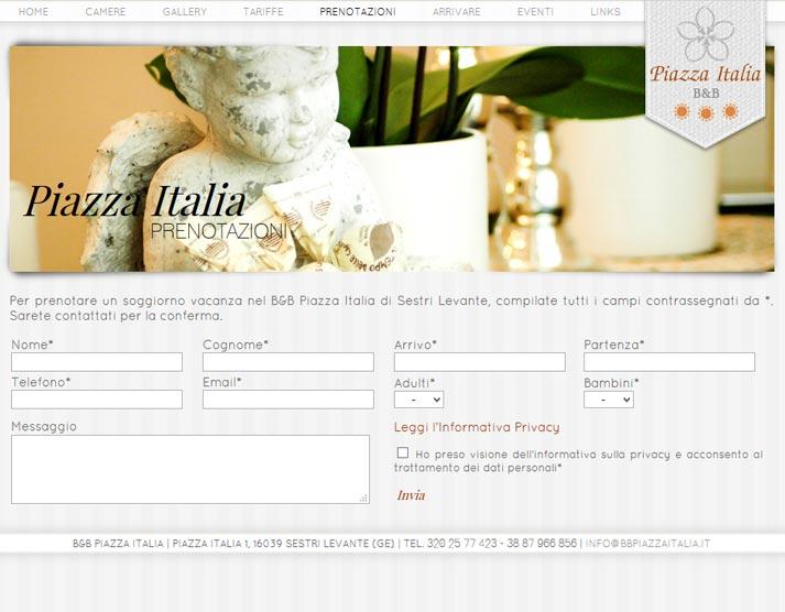 Creazione sito web B&B Piazza Italia: prenotazioni online | Portfolio FAR