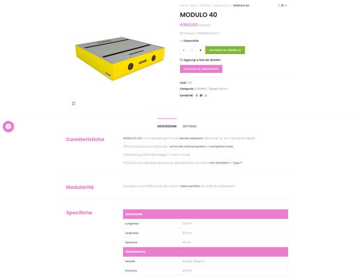 Sito e-commerce PunteTese.com - Pagina prodotto