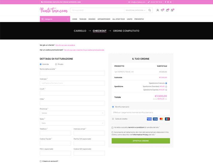 Sito e-commerce PunteTese.com - Checkout