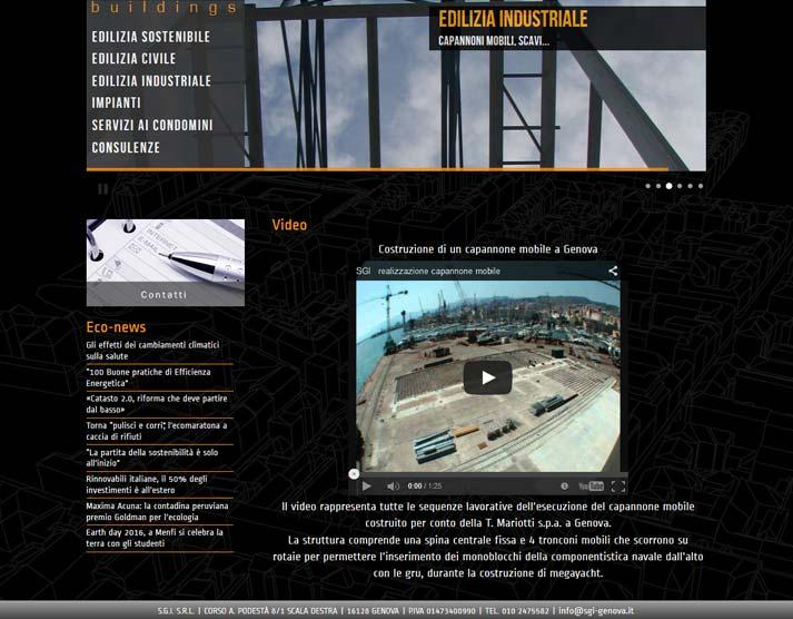 Creazione sito web S.G.I. S.r.l.: integrazione video YouTube | Portfolio FAR