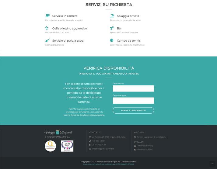 Pagina Appartamento sito web Villaggio Borgoverde
