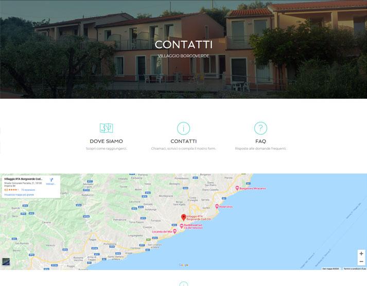Pagina Contatti sito web Villaggio Borgoverde