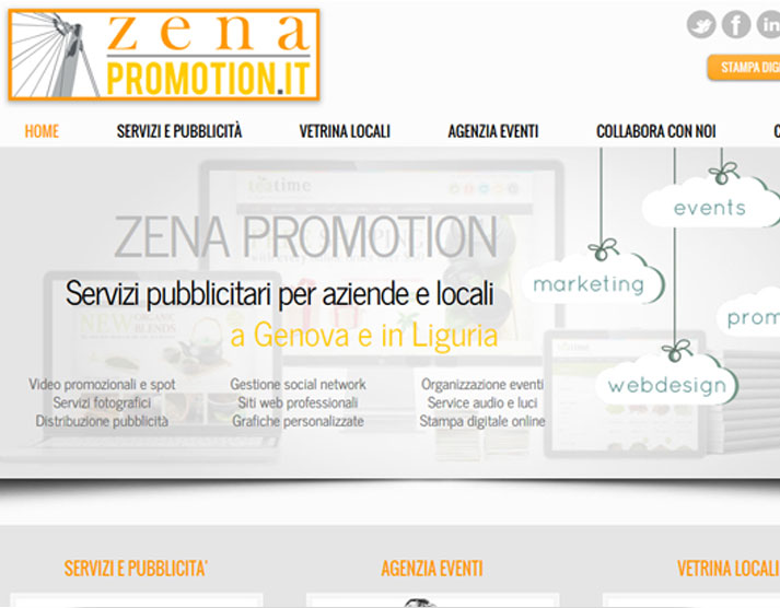 Creazione sito web Zena Promotion: home page | Portfolio FAR