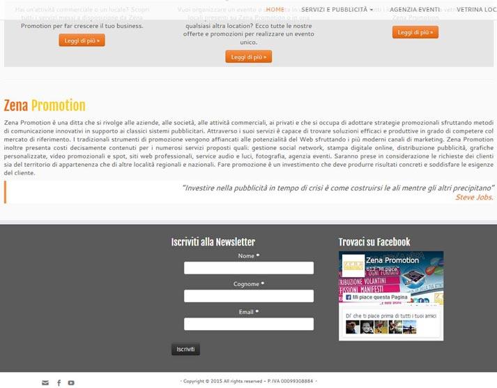 Creazione sito web Zena Promotion: footer | Portfolio FAR