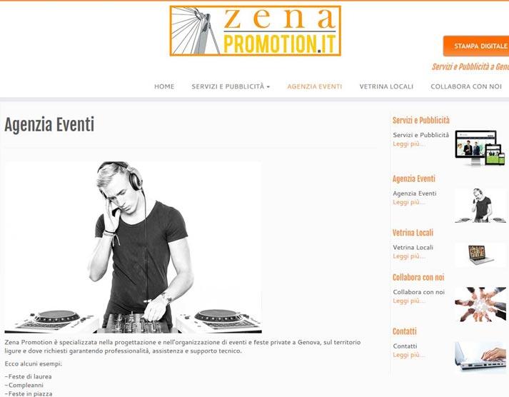 Creazione sito web Zena Promotion: pagina eventi | Portfolio FAR